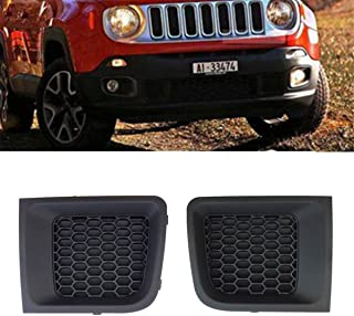 Front Bumper Grille Fit for Jeep Renegade, One Pair Lower Grille Grill Insert Bezel Cover Trim Filler Panel,735618579L 735618580R 2015 2016 2017