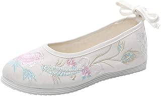 MerryDate Chaussures Brodées Femmes Chaussures Ballerines Chaussure RétroFleur de Pivoine Chaussures brodées Lin Semelle d...