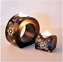 Estrymiw Wooden Candle Holder Nordic Home Romantic Flower Wedding Photography 5.11/2.75 Inch 0304