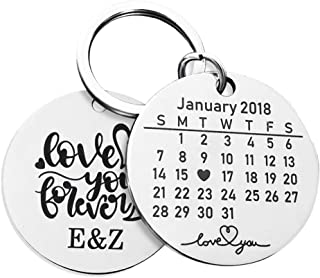 Cute Personalized Stainless Steel Couple Keychains for Women or Men Custom Calendar Keyring Engraved Anniversary Gifts