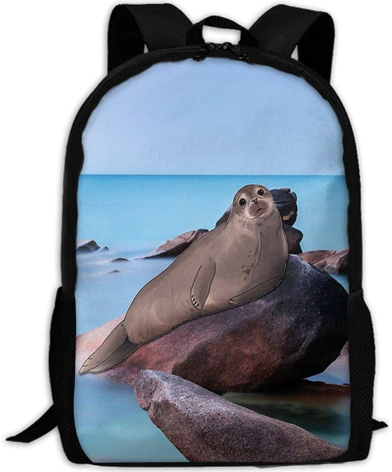 Adult Backpack Stone Sea Lions College Daypack Oxford Bag Unisex Business Travel Sports Bag with Adjustable Strap