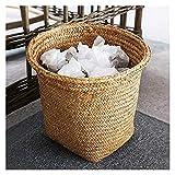 Cestino della spazzatura del rattan, cestino dei rifiuti intrecciato di vimini rotondo, cestino del rifiuto rustico retrò per il bagno del bagno del bagno della cucina Living room c 20x20x25cm (8x8x10