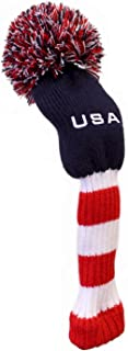 JP Lann USA Stripes Pom Pom Golf Club Head Cover Available in Driver or Fairway/Hybrid Size (Each Sold Separately)
