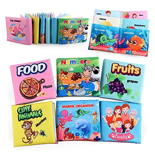 Koo-dib libro bebe,libros bebes 1 año texturas,libro baño blando bebe, libros bebes texturas,cuentos para bebes,libros de fieltro para bebes, juguetes bebe 3 meses,toca toca combel (Paquete de 6)