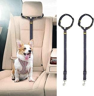 SLSON 2 Pack Dog Cat Safety Seat Belt Strap Car Headrest Restraint Adjustable Denim & Nylon Fabric Dog Restraints Vehicle Seatbelts Harness, Black