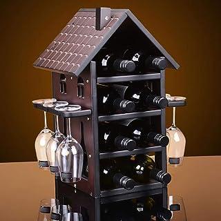 L.HPT Stockage de casier à vin, Support de Verre à vin en Bois Massif décoration créative d'affichage de vin de Support de...