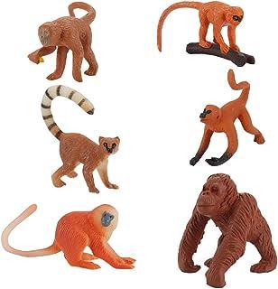 TOYANDONA 6pcs Monkey Figures Toys Realistic Plastic Monkey Figurine Birthday Cake Toppers Animal Action Figures Kids Educ...