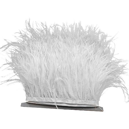 Yalulu 2 metros Cinta de flecos de plumas naturales vestido o manualidades blanco 10-15/cm para falda