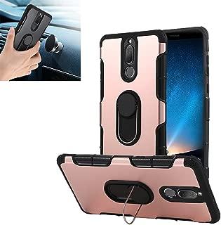 Huawei Mate 10 lite Case, Honor 9i Case, Huawei Nova 2i Case, Car Mount Ring Kickstand Case Dual Layer PC TPU Cover 360 Degree Rotating Rugged for Huawei Mate 10 lite/Nova 2i/Honor 9i (Rose Gold)