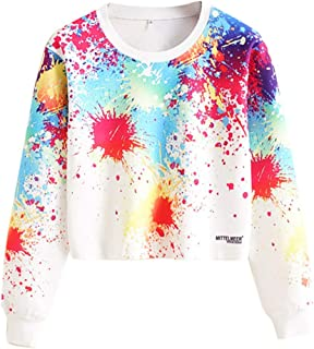 Tie Dye Sweatshirt Women Fashion Casual Loose O-Neck Tie Dyed Long Sleeve Sweatshirt