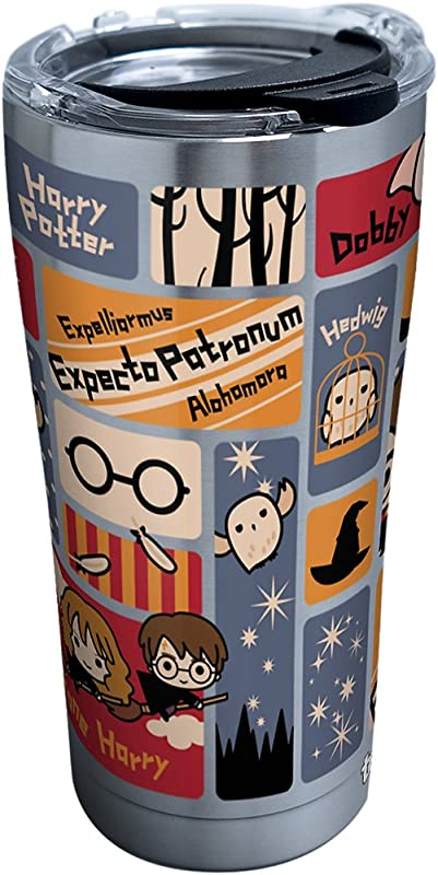 Tervis 1293207 Harry Potter Charms Tiles Insulated Tumbler With Clear And Black Hammer Lid 20 Oz Stainless Steel Silver
