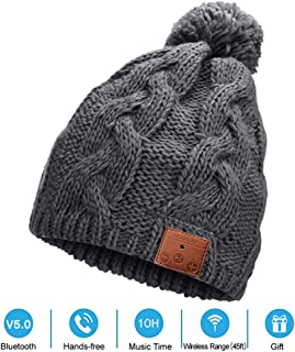 NERAON Newest Bluetooth 5.0 Wireless Bluetooth Beanie Hats with Detachable HD Stereo Speakers & Mic, Pom Pom Beanie Music Hats for Women (Grey)