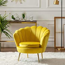 Armchair Lounge Chair Single Sofa Chair Modern Bedroom Living Room Clothing Beauty Shop Gold Velvet Chair 55 * 78Cm,Yellow