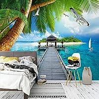 写真の壁紙3D海辺の風景パーム島木製橋壁画リビングルーム寝室の壁の背景の壁紙-140cm x 100cm