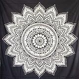 MOMOMUS Tapiz Mandala - 100% Algodón, Grande, Multiuso - Tapices de Pared para Decoración - Negro