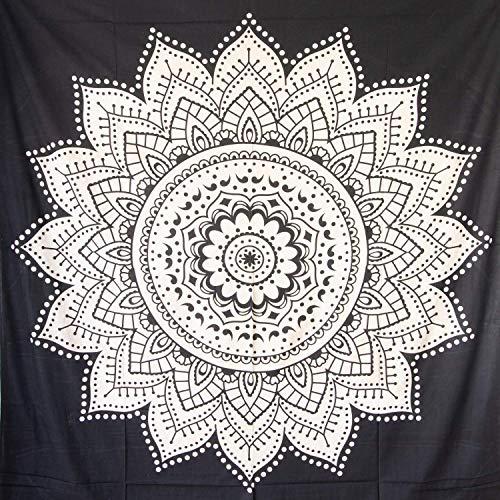 MOMOMUS Tenture Mandala - Léopard - 100% Coton, XXL, Polyvalent - Tapisserie Murale Drap/Tapis/Tissu Mural, Une Pièce, Noir