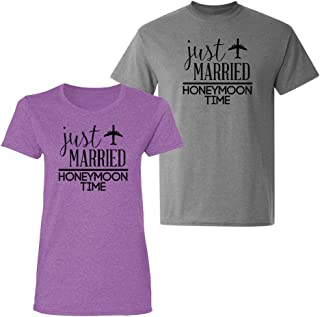 !!!!!!!!!!! - Couple Shirts - Just Married Honeymoon Time - Matching Couples T-Shirt Set