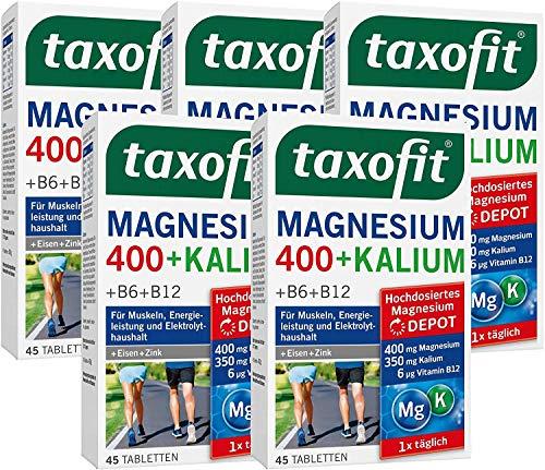 taxofit® Magnesium 400 + Kalium 5x 45 Tabletten für Muskeln, Energieleistung und Elektrolythaushalt