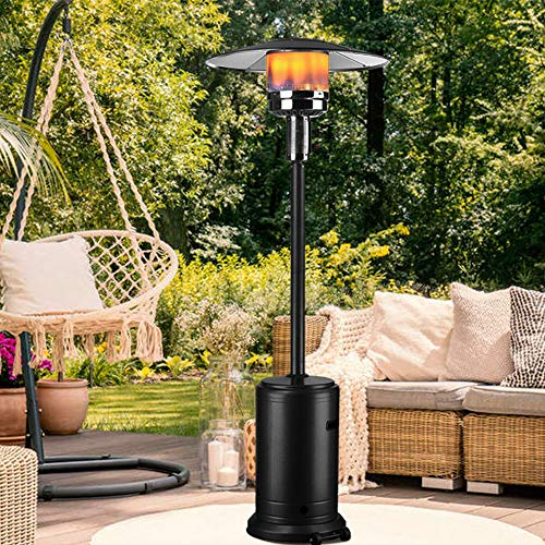 "DOIT Outdoor Patio Heater Propane Gas Floor-Standing 46,000BTU Commercial 86"" w/Wheels Durable Powder Coated Hammered Black Finish"