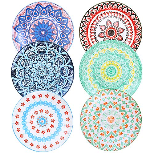 Farielyn-X 6 Pack Porcelain Dinner Plates - 10.5 Inch Diameter - Pizza Pasta Serving Plates Dessert Dishes Set of 6