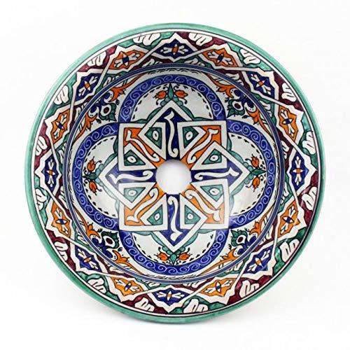 Orientalische Keramik-Waschbecken Fes50 Ø 35 cm rund bunt | Kunsthandwerk aus Marokko | Marokkanische Handwaschbecken handbemalt Aufsatzwaschbecken für Küche Badezimmer Gäste-Bad | Top Dekoration
