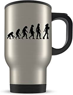 Roller Skate Travel Mug for Women - Roller Derby Coffee Cup for Skating Enthusiasts - Best Rollerskate Gift Idea - Funny Evolution Gifts