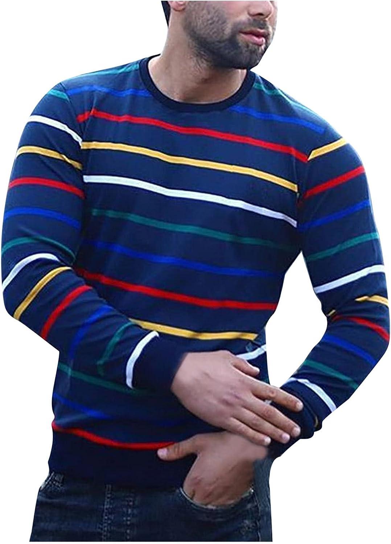Men's Casual Swallow Gird Print Long Sleeve Tops Turtleneck T-Shirt Blouse