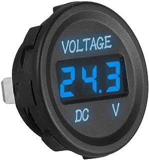 車用電圧計 丸型 埋め込み式 防水 電圧パネルメーター LEDディスプレイ(青いバックライト) 過電圧保護 DC 12V/24Vの自動車、オートバイ、ボートなどに