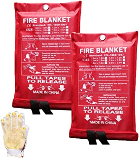 Large Fire Blanket Cover Fire Suppression Blanket Fire Guardian Blankets for Kitchen People Car Camping,Emergency Safety (...