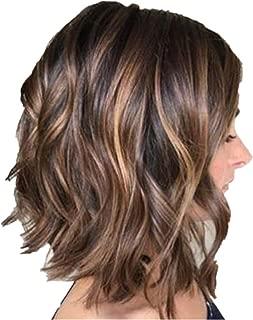Women's Natural Short Wavy Bob Human Wig Hair Glueless Front Wigs Brown Shoulder Length Big Wave Hair Wigs (Brown)