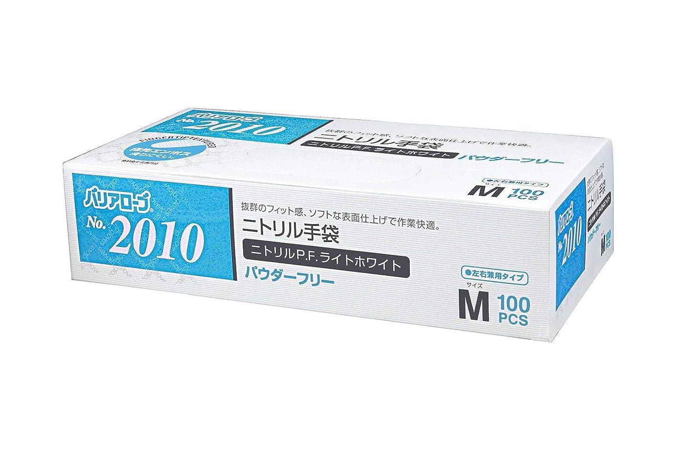 温かいバッジ回転【ケース販売】 バリアローブ №2010 ニトリルP.F.ライト ホワイト (パウダーフリー) M 2000枚(100枚×20箱)