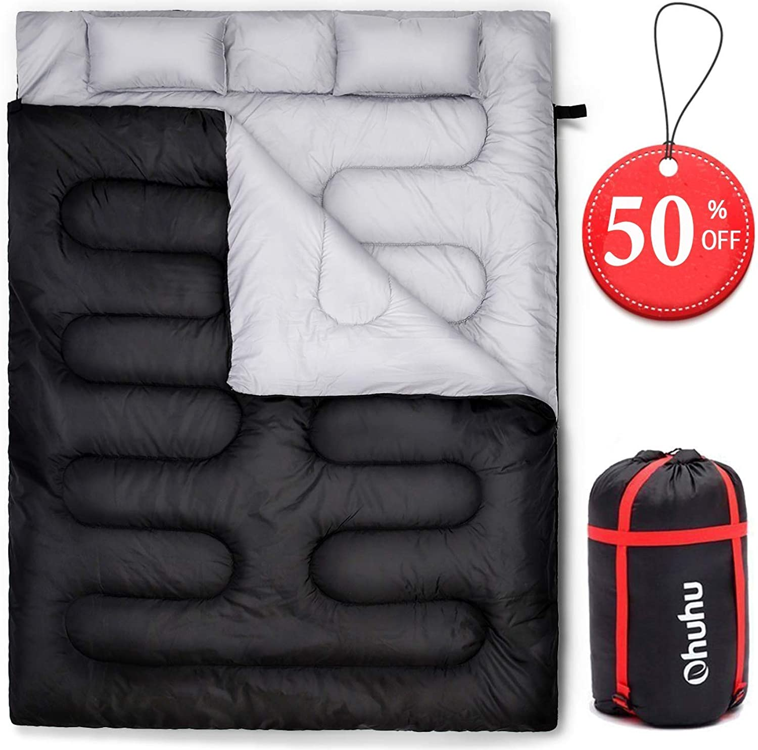 Ohuhu Double Sleeping Bag 2 Pillows, 2 Person Adult Sleeping Bags Camping, Backpacking, Hiking