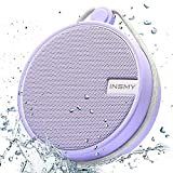 INSMY Portable IPX7 Waterproof Bluetooth Speaker, Wireless Outdoor Speaker Shower Speaker, with HD Sound, Support TF Card, Suction Cup, 12H Playtime, for Kayaking, Boating, Hiking (Purple)