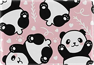Mydaily Cute Panda Pink Leather Passport Holder Cover Case Protector
