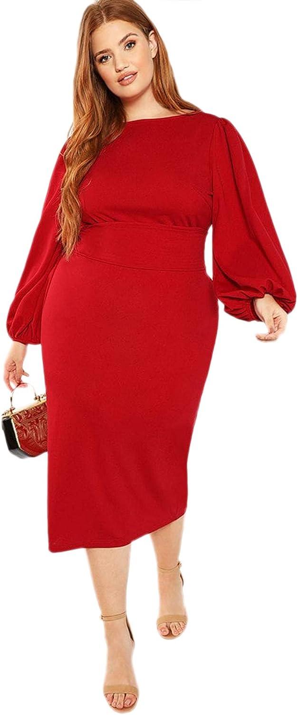 Milumia Women's Plus Size Round Neck Long Lantern Sleeve Bodycon Belted Dress