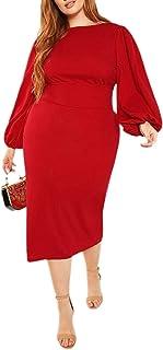 Women's Plus Size Round Neck Long Lantern Sleeve Bodycon Belted Dress