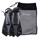 Seavenger Torpedo Swim Fins | Travel Size | Snorkeling Flippers with Mesh Bag for Women, Men and Kids (Black, L/XL)