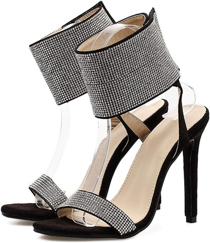 FELICIOO Damen High High Heel Fisch Mund Strass Klettverschluss Sandalen (Farbe   Schwarz, Größe   39)  das billigste