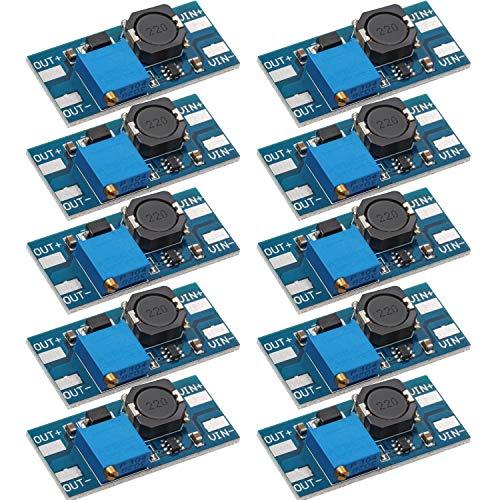 Frienda 10 Piezas MT3608 DC-DC Convertidor de Carga 2A Módulo Ajustable Step Up Tablero Regulador de Voltaje Voltaje de Entrada 2V-24V a 5V-28V Voltaje de Salida (sin Conector USB)