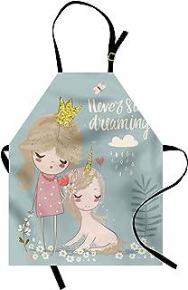 ABAKUHAUS Frase Delantal de Cocina, Composición Artística con Pequeña Princesa Niña Unicornio Frase Nunca Dejes de Soñar, ...