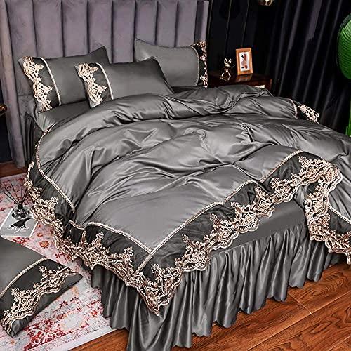 Copripiumino per letto matrimoniale, estate lavaggio acqua seta seta saldatura quattro pezzi letto Di_1.5M letto (4 pezzi)