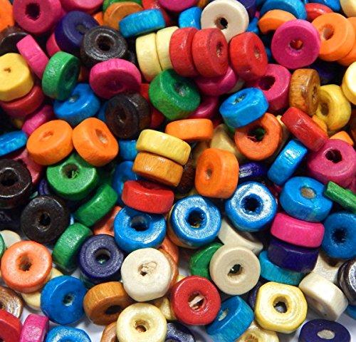 250 cuentas de madera de 8 mm, abalorios con agujero, multicolor, cuentas de madera para enhebrar, mezcla de perlas para manualidades y fabricación de joyas, H55