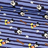 Stoffe Werning Baumwolljersey Mickey Mouse Streifen blau
