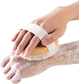 Body Brush Dry Exfoliating Bath Back Scrubber-Strength Skin Brush With Natural Boar Bristle Anti Cellulite for Body Men Women