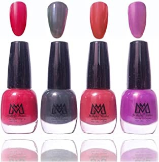 Makeup Mania Premium Nail Polish Exclusive Nail Paint Combo (Red, Grey Black, Purple, Light Brown, Pack of 4)