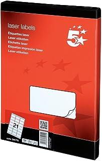 5 Star 296778 Office Multipurpose Labels Laser 21 per Sheet 63.5x38.1mm White [2100 Labels]