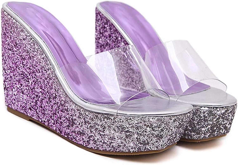 T-JULY Summer Sandals Women Flip Flops Beach Wedges Jelly shoes Platform Slippers with Transparent Strap Bling High Heel