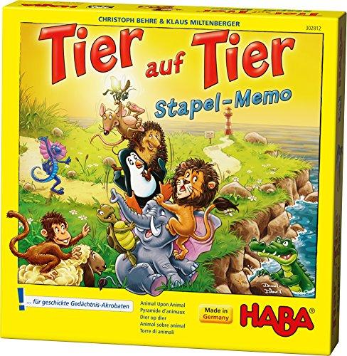 HABA 302812 - Tier auf Tier – Stapel-Memo | Kniffliges Bau- und Memospiel mit 19 Holzzylindern zum Stapeln | Gesellschaftsspiel ab 5 Jahren