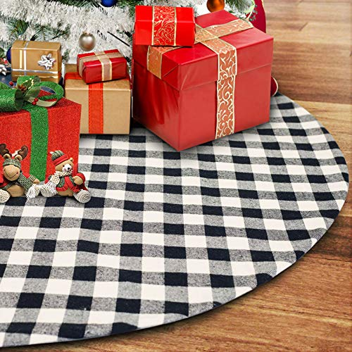 CCBOAY Christmas Tree Skirt 48 inch Large, Black and White Plaid Buffalo with Felt Fabric Lining, Checked Tree Mat for 2020 Xmas Holiday Party Decorations
