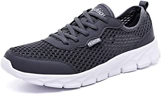 Shangruiqi Athletic Sneakers for Men Running Sneakers Sport Shoes Lace up Breathable Mesh Fabric Perforated Lightweight Anti-Wear (Color : Gray, Size : 2.5 UK Child)